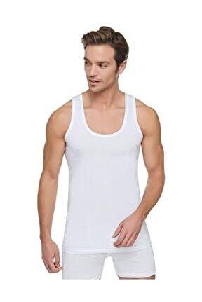 Erkek Beyaz 6'lı Paket Pamuklu Penye Atlet Beyaz