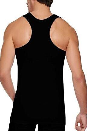 Erkek Siyah 6'lı Paket Pamuklu Ribana Sporcu Atleti