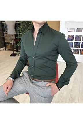 Italyan Stil Slim Fit Dik Yaka Saten Erkek Gömlek Yeşil T4743