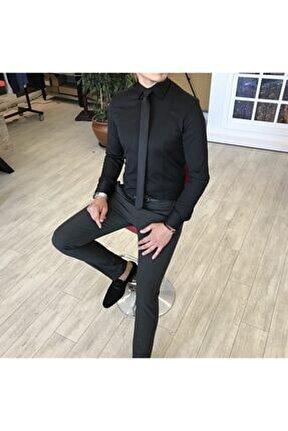 Italyan Stil Slim Fit Armürlü Kravat Yaka Gömlek Siyah T4766