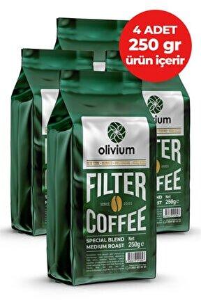 4 Paket 250 Gramlık Öğütülmüş Filtre Kahve ( 4 Adet 250 Gramlık Ürün Içerir)