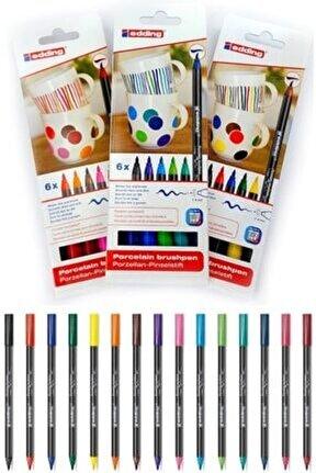 Sıcak + Soğuk + Ana Renkler Porselen Boyama Kalem Seti
