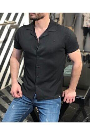 Erkek Siyah Kısa Kol Yazlık Salaş Gömlek