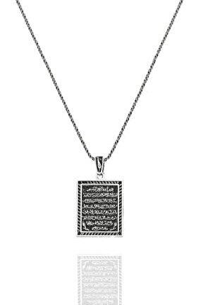 Ayetel Kürsi Kolye Kare Bay Bayan Gümüş Kolye Zincirli Uc-389