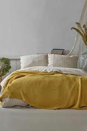 4 Kat Müslin 100% Pamuklu Tek Kişilik Pike - Yatak Örtüsü - Yastıksız Safran