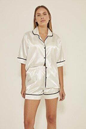 040 Kadın Saten Kısa Kol Şortlu 2 Li Pijama Takım Beyaz