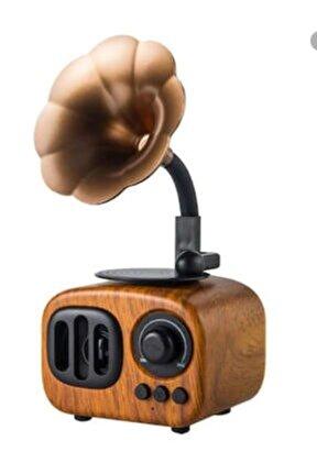 Ahşap Kahve Nostaljik Gramofon Taşınabilir Bluetooth Hoparlör Mini Radyo Müzik Çalar Kutusu