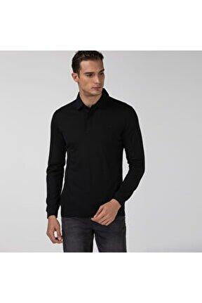 Erkek Yün Regular Fit Uzun Kollu Siyah Polo