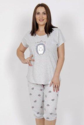 Büyük Beden Kısa Kol Kaprili Pijama Takım