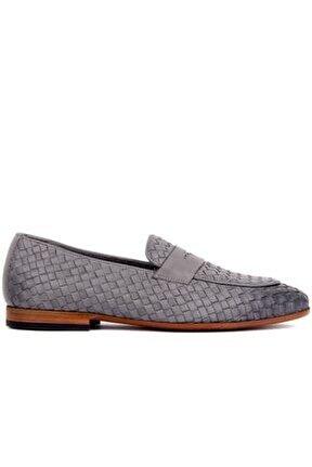 - Gri Deri Erkek Ayakkabı