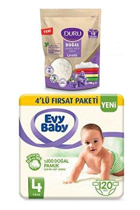 Bebek Bezi 4 Beden Maxi 4'lü Fırsat 120 Adet Duru Sabun 400gr Hediyeli