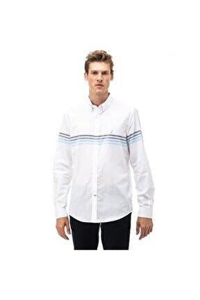 Nautıca Erkek Beyaz Çizgili Slım Fıt Gömlek