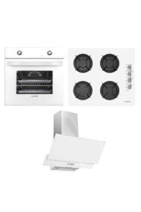 Yeni Beyaz Ankastre Set ( Mfa 604 M Fırın - Gls 640 Bl Ocak - F17/60 Davlumbaz )