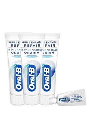 Diş Eti Ve Diş Minesi Onarım Orijinal 75 Ml X 3 Adet+ Diş Macunu 15 Ml