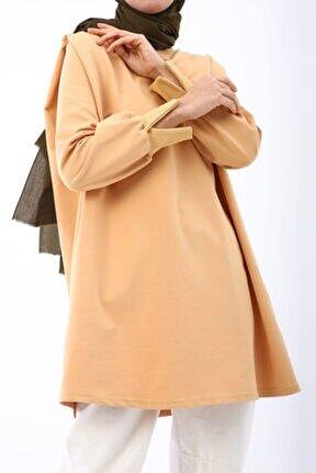 Kadın Açık Sarı Pileli Sweat Tunik