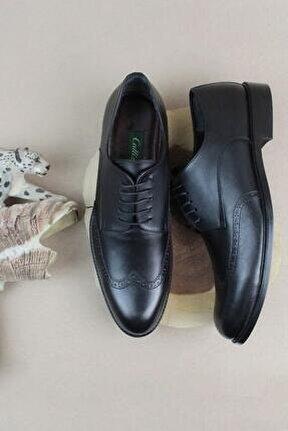 Hakiki Deri Erkek Klasik Ayakkabı Bağcıklı Büyük Numara Derby