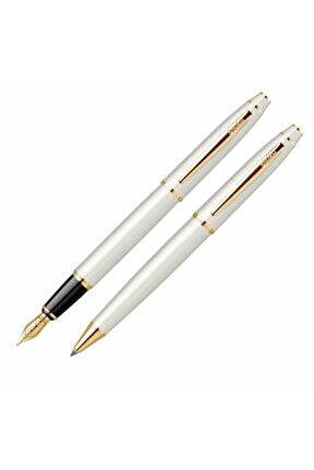 35 Dolma Kalem Ve Tükenmez Kalem Seti Beyaz Altın