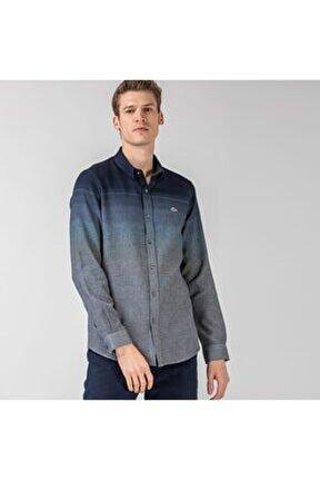 Erkek Slim Fit Blok Desenli Lacivert Gömlek