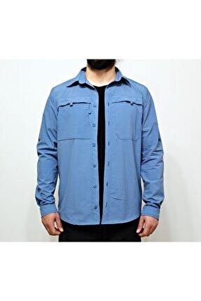 Erkek Mavi Outdoor Taktik Gömlek