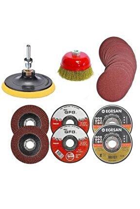 Spiral Avuç Içi Taşlama Makinesi Cırt Zımpara Flap Metal Kesici Disk Matkap Seti 115 mm 25 Parça