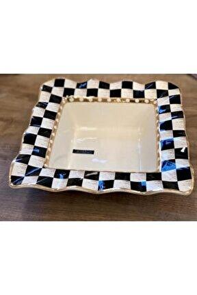 Checkers Kare Salata Kase 28 Cm Siyah/beyaz
