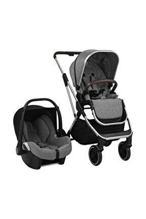 Gri Melange Grey Flexfold Travel Sistem Bebek Arabası