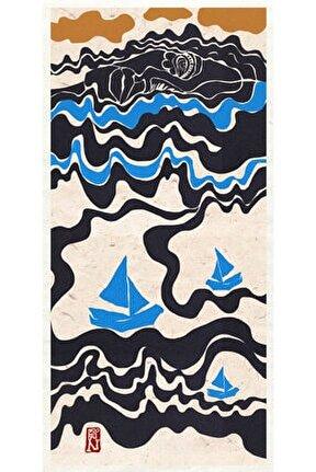 Morning Swim Dijital Illüstrasyon, Fine Art Baskı, 25x52,