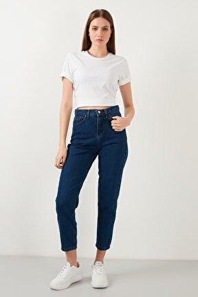 Yüksek Bel % 100 Pamuklu Mom Jeans Kadın KOT PANTOLON 5873041