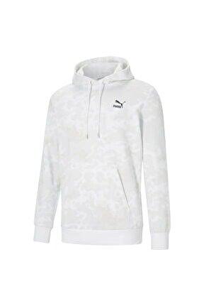 Classic Logo Erkek Kapüşonlu Sweatshirt - Beyaz