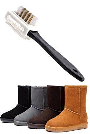 Çift Taraflı Pratik Taşınabilir Süet Nubuk Deri Çizme Bot Ayakkabı Temizleme Bakım Fırçası