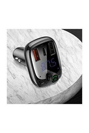 Bluetooth Fm Transmitter 36w Qc 4.0 Dual Usb & Type-c Araç Şarj Cihazı Siyah