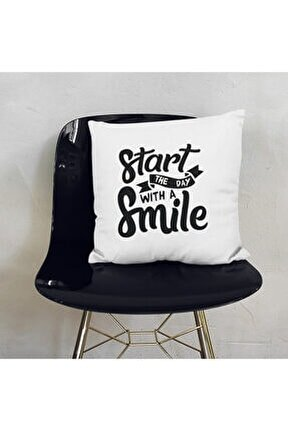 Star The Day With A Smile Motivasyon Dekoratif Yastık - Baskılı Yazılı Dekoratif Kırlent