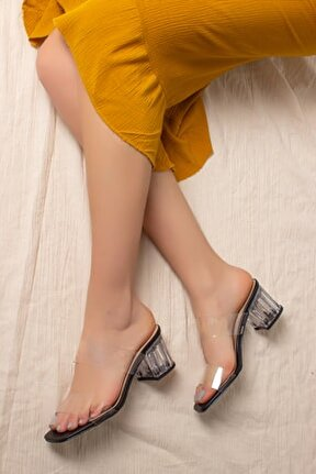 D0085 Kadın Siyah Şeffaf Bant&şeffaf Topuklu Ayakkabı