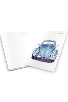 Vintage Blue Car Weekly Planner & Notebook
