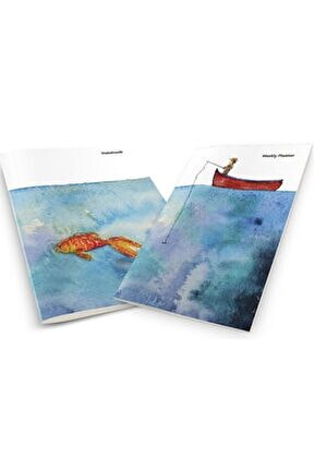 Fisherman Catching Gold Fish In The Sea Weekly Planner & Notebook