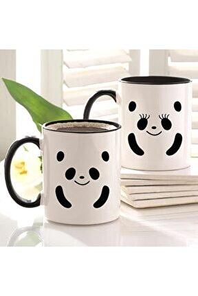 Sevgili Panda Çift Baskılı Içi Ve Kulpu Siyah 2'li Kupa Seti