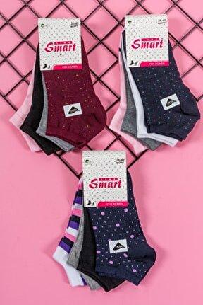 12'li Kadın Desenli Pamuklu Likralı Patik Çorap
