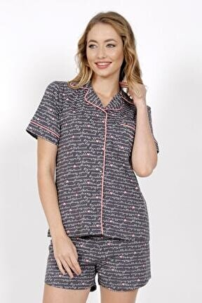 Pamuklu Yaka Kısa Kol Tamamı Düğmeli Şortlu Pijama Takım