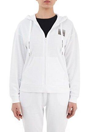 Kadın Beyaz Kapüşonlu Sweat Yj2hz 1100