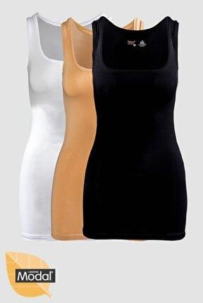3'lü Modal Pamuklu Siyah Beyaz Ten Kalın Askılı Uzun Atlet