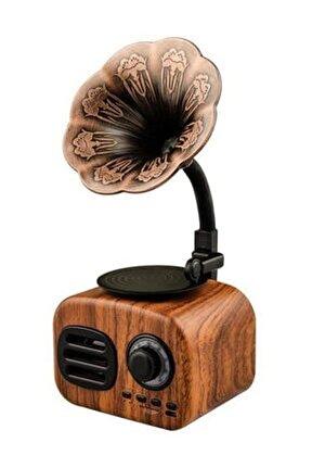 Taşınabilir Nostaljik Kablosuz Ses Gramafon Tasarımlı Bombası Extra Bass Bluetooth Hoparlör Tg-ft05