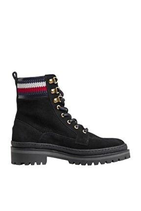 Kadın Siyah Bot & Bootie Rugged Classıc Lace Up Flat Boot FW0FW05171
