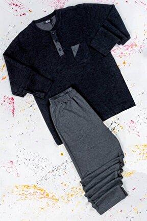 Erkek Kalın Kışlık Antrasit %100 Pamuk Midi Yaka Pijama Takımı