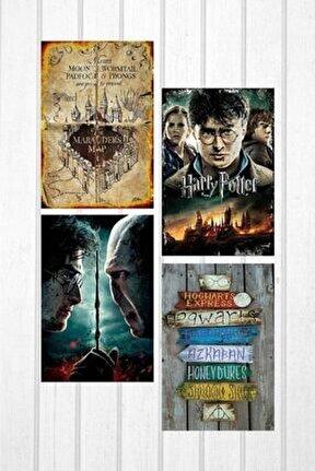 Harry Potter Baskılı 4'lü Ahşap Poster Seti 2