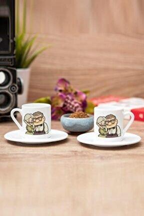 Yaşlı Çift Sevgili 2li Set Beyaz Kahve Fincanı