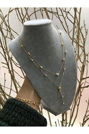 Kadın Altın Kaplama Bijuteri Kolye Renk Atmaz