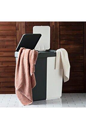 Duo Laundry Antrasit  Beyaz Çamaşır Sepeti