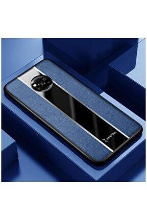 Xiaomi Poco X3 Uyumlu Zebana Premium Deri Kılıf Mavi Kılıf