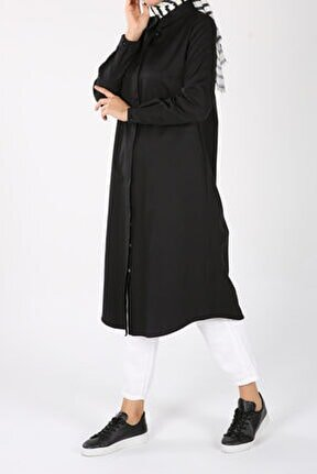Siyah Gizli Patlı Gömlek Tunik