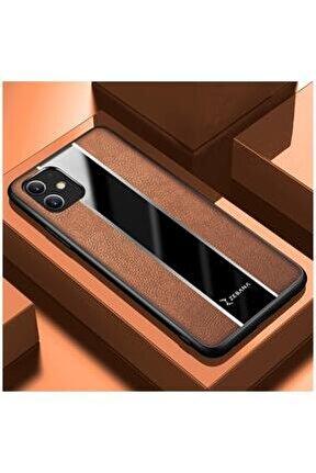 Iphone 11 Uyumlu Kahverengi Deri Telefon Kılıfı